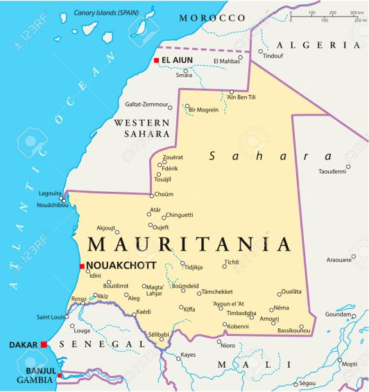 Mauritania Political Map